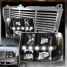 For 2000-2006 Chevrolet Tahoe LED DRL Conversion Black Headlights +Chrome Grille