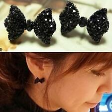 New Korean Style Crystal Rhinestone Bow Ear Stud Bowknot Tie Earrings Jewelry