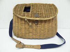 Antique Old Used Woven Straw Fish Holder Blue Strapped Fishing Basket Creel
