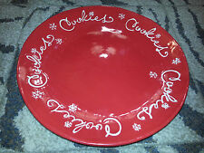 "HALLMARK 15"" Red CHRISTMAS COOKIES HOLIDAY PLATTER Snowflake DECORATIVE DISH New"