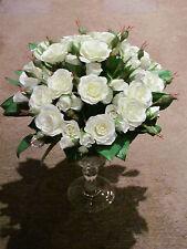 SIA Rosenbouquet 22cm weiß 50 Rosen künstlicher Rosenstrauß Kunstblumen Hochzeit