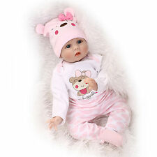 "22"" lifelike reborn baby doll silicone vinyl real gentle touch newborn doll gift"