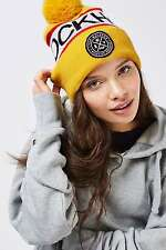 Topshop Stockholm Yellow Slogan Pom Beanie Bobble Hat BNWT RRP £16 Logo Winter