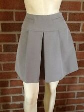 Tracy Reese Inverted Pleat Mini Skirt Cotton Blend Gray Size 0
