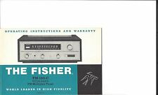 Original Owners Manual Fisher FM-100C Tube Tuner from my collection vault. Nice!