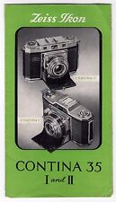 1950s ZEISS IKON CONTINA 35 I AND II Brochure CAMERA Vintage ANTIQUE Photography
