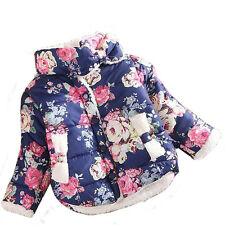 Baby Girls Kids Toddler Floral Outwear Princess Faux Fleece Thicken Jacket Coat