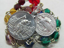 † VINTAGE SAINT MICHAEL & BENEDICT MEDAL ROSARY MULTI COLOR CHAPLET PROTECTION †
