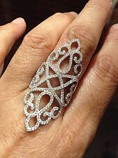 Vintage Real Clear Crystal Stone 925 Sterling Silver Filigree Ring