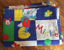 Vintage Disney Mickey Mouse Color Crayons Cotton Flannel Twin Flat Sheet Bedding