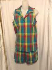 EUC L Girls/ S WOMENS KELLYS KIDS Sz 6 Colorful Plaid Sleeveless Shirt & Shorts