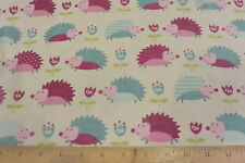 Forest Hedgehogs & Flower Stripe Allover Cotton Flannel Fabric BTY