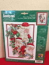 Janlynn Christmas Counted Cross Stitch Kit Three Face of Santa 125-261 SEALED!
