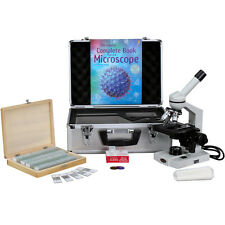 40X-2500X Advanced Monocular Microscope w/ 3D-Stage Book Slides & Carrying Case