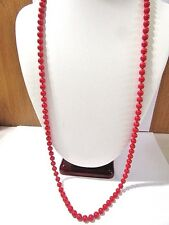 "HEAVY LIPSTICK BRIGHT RED ""BB"" BALL NECKLACE OVER METAL VINTAGE LONG 6MM"