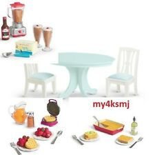 American Girl GOURMET KITCHEN SET for DOLL + Dining TABLE & 3 FOOD SETS Waffle +
