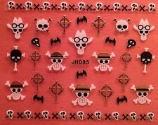 Nail Art 3D Decal Stickers Halloween Cowboy Skull Bat Reeper Cross JH095