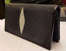 Genuine Stingray Wallets Skin Leather Long Bifold Men's Black Wallet Handmade-1