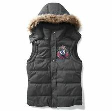 PAULS BOUTIQUE GREY FAUX FUR HOOD QUILTED GILET JACKET M £75!