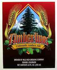 Mile High Brewing Co TIMBERLINE - COLORADO AMBER ALE beer label CO 12oz