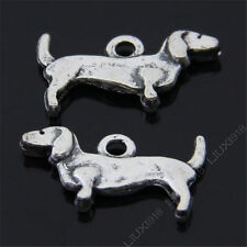 20pc Retro Tibetan Silver Daschund Dog Animal Pendant Charms Accessories S485T