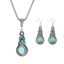 Women's Sterling Silver Water drop shaped Crystal Pendant Necklace.