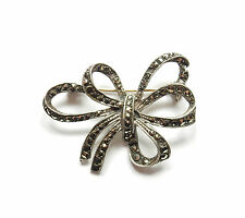 Vintage 1970's Sterling Silver 925 MARCASITE SET BOW PIN BROOCH 5.6g