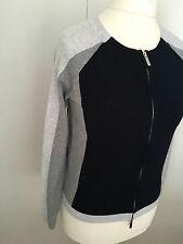 Karen Millen Colour Block Navy Grey Zip Cardigan KM 1 UK 8