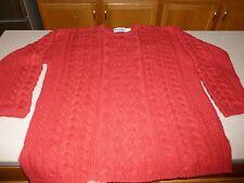 ARANCRAFTS  Merino Wool Cashmere Sweater Womens Aran Knit SOFTEST Red sz L Large