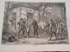 Gravure 1872 - Chasse Le Pied de Chevreuil