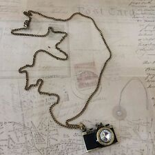 Camera Charm Pendant Necklace Antiqued Long Chain Rhinestone Lens Photography