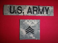 2 US Army Camo ACU Velcro-Back Patches: U.S. ARMY Pocket Tape + SERGEANT Rank