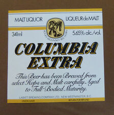 VINTAGE CANADIAN BEER LABEL - LABATTS BREWERY, COLUMBIA EXTRA 341 ML