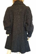 EXTRAORDINARY Black KARAKUL PERSIAN LAMB COAT- REAL FUR Plus sz 2XL / 20W