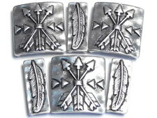 6 - 2 HOLE BEADS SILVER NATIVE INDIAN WESTERN SOUTHWESTERN FEATHERS & ARROWS