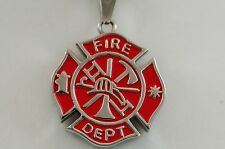 Cremation Fire Fighter Medilion urn jewelry chain Memorial pendant red 563CSRDSS