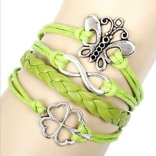 NEW Hot Silver Infinity Love Anchor Leather Cute Charm Bracelet plated SL144G