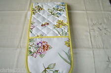 Double Oven Gloves.  Butterflies and Flowers with Lemon Trim