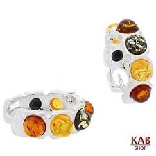 BALTIC AMBER STERLING SILVER 925 JEWELLERY HOOP EARRINGS. KAB-244