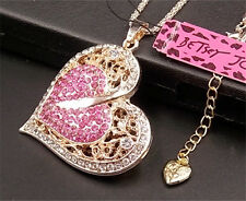 New Betsey Johnson shiny  Pink crystal heart-shaped pendant necklace A044