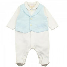 NEW EMILE ET ROSE 'CAESAR' BABY BOY BLUE & WHITE ALL IN ONE WAISTCOAT AGE 1MTHS