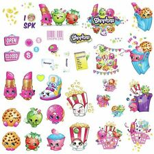 New 39 SHOPKINS Peel & Stick Wall Decals Supermarket Grocery Characters Stickers