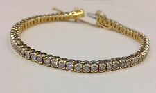 14k Yellow Gold 2 1/2 tcw I Color Rd Natural Diamond Bezel Set Tennis Bracelet