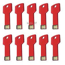 Lot 10 16GB USB Flash Drive 16G Memory Pen Stick Wholesale Key Shape Bulk Red