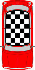 Classic Mini Chequered Roof Custom Car Stickers Decal Cooper Vinyl Graphics NEW