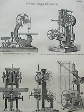 ANTIQUE PRINT DATED C1880S ENGRAVING WOOD MACHINERY WOOD MORTISING MACHINE