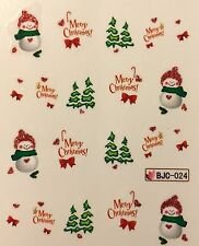 Nail Art Glitter Water Decals Merry Christmas Tree Snowman BJC024