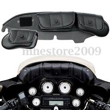 3 Pocket Windshield Fairing Saddle Pouch Bag For Harley Electra Glide Touring