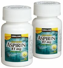 Kirkland Low Dose Aspirin 81mg Enteric Coated NSAID 365 tablets x2+FREE SHIPPING