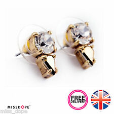 NEW GOLD SMALL PEAR CRYSTAL ROUND EARRINGS WOMENS LADIES STUD VINTAGE BOHO DAISY